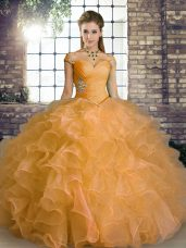 Floor Length Ball Gowns Sleeveless Orange 15 Quinceanera Dress Lace Up