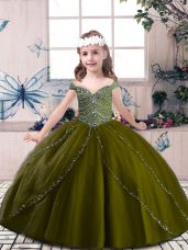Tulle Straps Sleeveless Lace Up Beading Party Dress in Olive Green