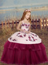 Excellent Sleeveless Side Zipper Floor Length Embroidery Custom Made Pageant Dress