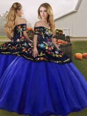 Free and Easy Sleeveless Floor Length Embroidery Lace Up Sweet 16 Dress with Royal Blue