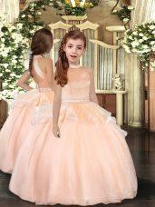 High End Peach Backless Kids Formal Wear Beading Sleeveless Floor Length