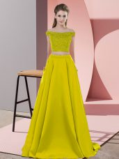 Dynamic Olive Green Two Pieces Off The Shoulder Sleeveless Elastic Woven Satin Sweep Train Backless Beading Pageant Dresses
