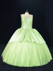 Chic Yellow Green Tulle Lace Up Scoop Sleeveless Floor Length 15th Birthday Dress Beading