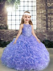 Lavender Pageant Dresses Party and Wedding Party with Beading and Ruffles Scoop Sleeveless Lace Up