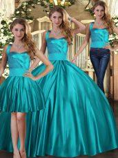 Elegant Teal Satin Lace Up Halter Top Sleeveless Floor Length Sweet 16 Dresses Ruching