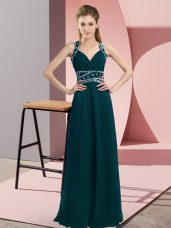 Floor Length Empire Sleeveless Peacock Green Prom Evening Gown Backless