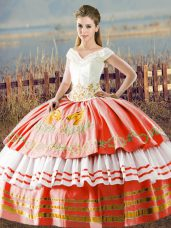 Traditional V-neck Sleeveless Satin Quinceanera Dress Embroidery and Ruffled Layers Lace Up
