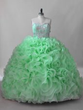 Hot Sale Fabric With Rolling Flowers Lace Up Sweetheart Sleeveless Quinceanera Gown Brush Train Beading