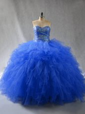 Most Popular Royal Blue Sleeveless Tulle Lace Up Ball Gown Prom Dress for Sweet 16 and Quinceanera