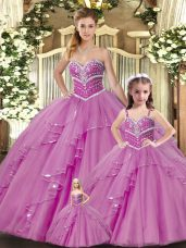 Smart Sleeveless Floor Length Beading Lace Up Quinceanera Dress with Lilac