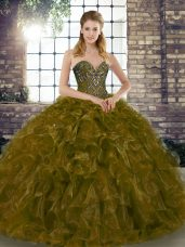 Colorful Brown Ball Gowns Beading and Ruffles Ball Gown Prom Dress Lace Up Organza Sleeveless Floor Length