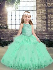 Apple Green Tulle Lace Up Kids Formal Wear Sleeveless Floor Length Lace and Appliques