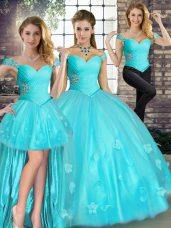 Trendy Aqua Blue Three Pieces Beading and Appliques Quince Ball Gowns Lace Up Tulle Sleeveless Floor Length