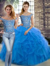 Blue Two Pieces Tulle Off The Shoulder Sleeveless Beading and Ruffles Lace Up Quinceanera Dresses Brush Train