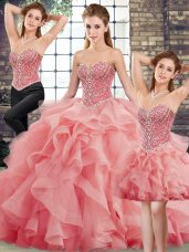 Watermelon Red Tulle Lace Up Ball Gown Prom Dress Sleeveless Brush Train Beading and Ruffles