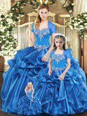 Floor Length Blue Quinceanera Dresses Organza Sleeveless Beading and Ruffles