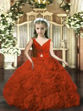Custom Made Floor Length Rust Red Little Girl Pageant Dress Fabric With Rolling Flowers Sleeveless Beading and Ruching