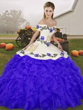 Discount Sleeveless Lace Up Floor Length Embroidery and Ruffles Quince Ball Gowns