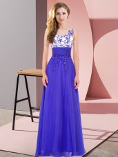 Inexpensive Blue Backless Bridesmaid Dress Appliques Sleeveless Floor Length