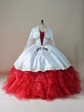 Sleeveless Floor Length Embroidery and Ruffles Lace Up 15th Birthday Dress with White And Red