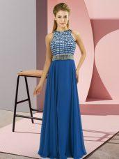 On Sale Blue Empire Scoop Sleeveless Chiffon Floor Length Side Zipper Beading Prom Dresses