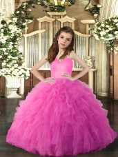 Hot Pink Ball Gowns Ruffles Pageant Gowns For Girls Lace Up Tulle Sleeveless Floor Length