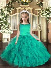 Latest Turquoise Scoop Neckline Ruffles Kids Formal Wear Sleeveless Lace Up