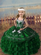 Best Straps Sleeveless Organza Little Girl Pageant Dress Embroidery and Ruffled Layers Lace Up