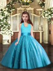Baby Blue Ball Gowns Beading Little Girls Pageant Dress Lace Up Tulle Sleeveless Floor Length