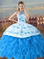 Beauteous Halter Top Sleeveless Organza Ball Gown Prom Dress Embroidery and Ruffles Court Train Lace Up