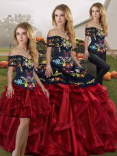 Discount Three Pieces Quinceanera Gown Red And Black Off The Shoulder Organza Sleeveless Floor Length Lace Up