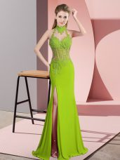 Green Chiffon Backless Halter Top Sleeveless Floor Length Prom Dresses Lace and Appliques