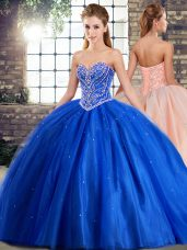 Brush Train Ball Gowns Sweet 16 Dress Blue Sweetheart Tulle Sleeveless Lace Up