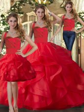 Red Halter Top Lace Up Ruffles Quinceanera Dress Sleeveless