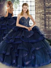 Sweetheart Sleeveless Tulle Ball Gown Prom Dress Beading and Ruffles Lace Up