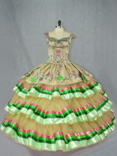 Excellent Olive Green Sleeveless Floor Length Embroidery and Ruffled Layers Lace Up Vestidos de Quinceanera