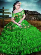 Fantastic Green Organza Lace Up Off The Shoulder Sleeveless Floor Length Quinceanera Gown Embroidery and Ruffles