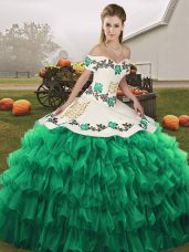 Chic Turquoise Sleeveless Floor Length Embroidery and Ruffled Layers Lace Up Quinceanera Gown