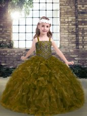 Olive Green Ball Gowns Organza Straps Sleeveless Beading and Ruffles Floor Length Lace Up Pageant Dress for Teens