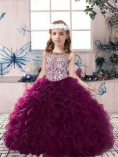 Beading and Ruffles Little Girl Pageant Gowns Dark Purple Lace Up Sleeveless Floor Length