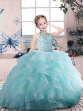 Aqua Blue Ball Gowns Organza Scoop Sleeveless Beading and Ruffles Floor Length Zipper Pageant Gowns