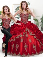 Wine Red Lace Up Sweetheart Beading and Appliques and Pick Ups Quince Ball Gowns Organza Sleeveless