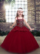 Floor Length Red Pageant Dress for Teens Straps Sleeveless Zipper