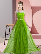 Luxurious Chiffon Lace Up Scoop Sleeveless Floor Length Damas Dress Beading