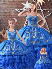 Blue Quince Ball Gowns Sweet 16 and Quinceanera with Embroidery Sweetheart Sleeveless Lace Up