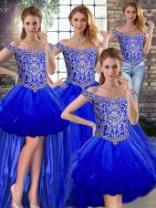 Designer Floor Length Royal Blue Quinceanera Dresses Tulle Sleeveless Beading and Ruffles