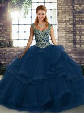 Fancy Straps Sleeveless Lace Up Quinceanera Dress Blue Tulle