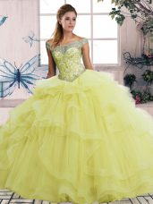 Amazing Floor Length Yellow Quince Ball Gowns Tulle Sleeveless Beading and Ruffles