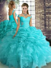 Off The Shoulder Sleeveless Lace Up Vestidos de Quinceanera Aqua Blue Organza