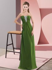 Beading Celebrity Prom Dress Olive Green Zipper Sleeveless Floor Length